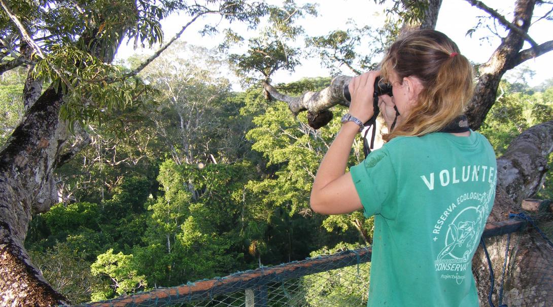 Voluntaria ambiental en Perú observando aves en lo alto de un puente colgante.